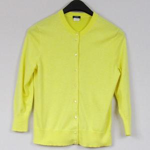 J Crew Yellow Cotton Cardigan Sweater Size Medium